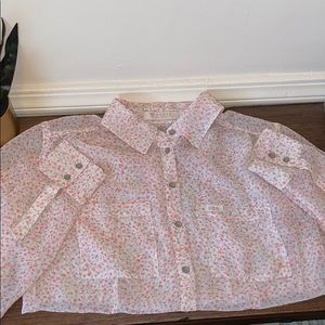 Guess Floral Pink Sheer Button Down Shirt